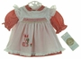 "<img src=""https://p11.secure.hostingprod.com/@grammies-attic.com/ssl/images/blue-sold-1.gif""> NEW Polly Flinders Red Checked Dress and White Smocked Pinafore with Embroidered Bunny"