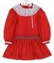 Polly Flinders Red Dotted Dress with Smocked Drop Waist