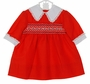 NEW Polly Flinders Red Smocked Dress with White Lace Trimmed Collar and Cuffs