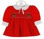 "<img src=""https://p11.secure.hostingprod.com/@grammies-attic.com/ssl/images/blue-sold-1.gif""> NEW Polly Flinders Tiny Red Smocked Dress with Christmas Trees and Pearls"