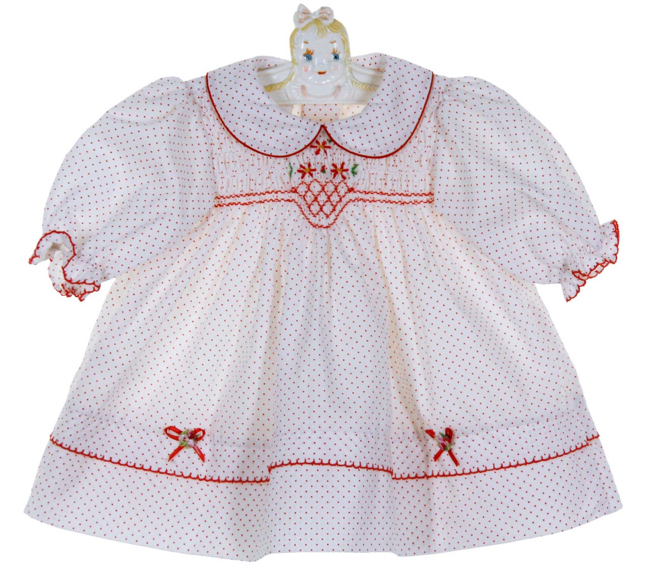 034822a2d NEW Polly Flinders White Dotted Smocked Dress with Red Flowers