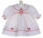 """<img src=""""https://p11.secure.hostingprod.com/@grammies-attic.com/ssl/images/blue-sold-1.gif""""> NEW Polly Flinders White Dotted Smocked Dress with Red Flowers"""