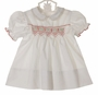 """<img src=""""https://p11.secure.hostingprod.com/@grammies-attic.com/ssl/images/blue-sold-1.gif""""> NEW Polly Flinders White Smocked Dress with Embroidered Red Flowers and Ivory Lace Trim"""