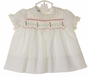 NEW Polly Flinders White Smocked Dress with Red and Green Embroidery and Ivory Lace Trim