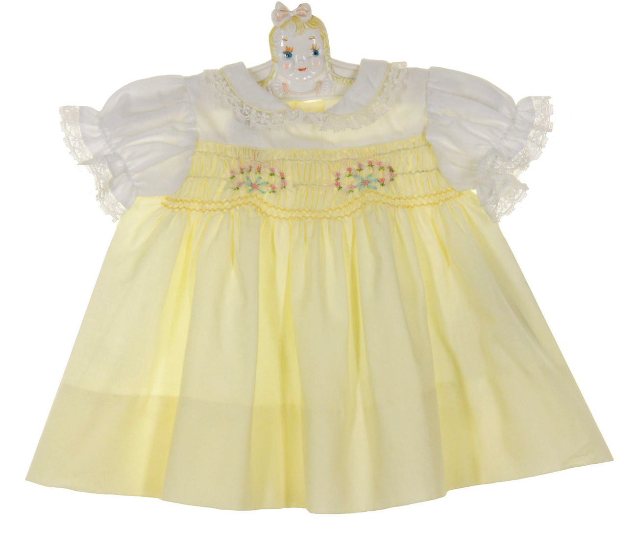 b7e343063 NEW Polly Flinders Yellow and White Smocked Dress with Pink Embroidered  Flowers