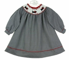NEW Rare Editions Black Checked Bishop Smocked Dress with Embroidered Scotty Dogs