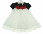 NEW Rare Editions Black Velvet Baby Dress with Ivory Ruffled Organdy Skirt