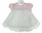 NEW Rare Editions Pink Satin and White Organdy Dress with Lace Sequins and Seed Pearls