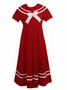 NEW Rare Editions Red Sailor Dress with White Trim