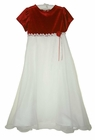 NEW Rare Editions Red Velvet Dress with White Organdy Ruffled Skirt