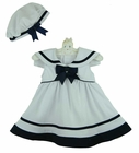 NEW Rare Editions White Sleeveless Sailor Dress with White Collar