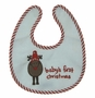 "<img src=""https://p11.secure.hostingprod.com/@grammies-attic.com/ssl/images/blue-sold-1.gif""> NEW Red and White Baby's First Christmas Bib and Rattle Set with Appliqued Reindeer"