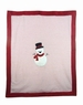 NEW Red and White Softest Velour Reversible Blanket with Snowman Applique