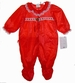NEW Red Nylon Ruffle Bottom Footed Pajamas with White Lace Trim