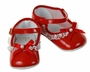 "<img src=""https://p11.secure.hostingprod.com/@grammies-attic.com/ssl/images/blue-sold-1.gif""> NEW Red Patent Leather Baby Shoes with Lace Trim and Red Bows"