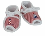 NEW Red Striped Open Toed Nautical Shoes with Lighthouse and Sailboat Embroidery