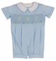 NEW Remember Nguyen (Remember When) Blue Smocked Romper with Embroidered Crosses