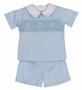 NEW Remember Nguyen (Remember When) Blue Smocked Shorts Set with Embroidered Crosses