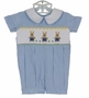 NEW Remember Nguyen (Remember When) Blue Striped Smocked Romper with Embroidered Bunnies