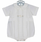 """<img src=""""https://p11.secure.hostingprod.com/@grammies-attic.com/ssl/images/blue-sold-1.gif""""> NEW Remember Nguyen Remember When) Antique White Romper with Front Tabs and Duck Embroidery"""