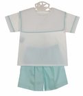NEW Remember Nguyen (Remember When) Aqua and White Shorts Set with Portrait Collar