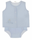 NEW Remember Nguyen (Remember When) Blue Cotton Diaper Set with Embroidered Chick