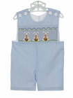 NEW Remember Nguyen (Remember When) Blue Striped Shortall with Easter Bunny Embroidery