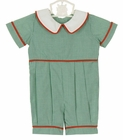 NEW Remember Nguyen (Remember When) Green Checked Romper with White Collar and Red Trim