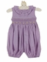 NEW Remember Nguyen (Remember When) Lavender Checked Smocked Bubble with Yellow Rosebuds