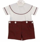 NEW Remember Nguyen (Remember When) Red Plaid Button on Shorts Set with White Portrait Collar