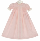 """<img src=""""https://p11.secure.hostingprod.com/@grammies-attic.com/ssl/images/blue-sold-1.gif""""> NEW Remember Nguyen (Remember When) Vintage Style Pink Cotton Smocked Daygown with Lace and Embroidery"""