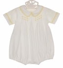NEW Remember Nguyen (Remember When) Vintage Style White Cotton Pintucked Romper with Yellow Embroidery