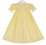 NEW Remember Nguyen (Remember When) Vintage Style Yellow Cotton Smocked Daygown with Lace and Embroidery