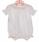 NEW Remember Nguyen (Remember When) White Cotton Pintucked Bubble with Puffed Sleeves, Pink Embroidery and Lace Trim