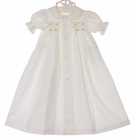 NEW Remember Nguyen (Remember When) Antique White Cotton Smocked Daygown with Pink Rosebuds and Ivory Lace Trim