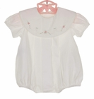 NEW Remember Nguyen (Remember When) White Pleated Bubble with Pink Rosebud Embroidered Portrait Collar