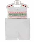 NEW Remember Nguyen (Remember When) White Shortall with Holiday Smocking