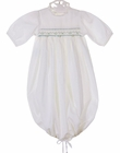NEW Remember Nguyen (Remember When) Antique White Smocked Daygown with Blue Embroidery and Ribbon Drawstring Hem
