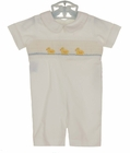 NEW Remember Nguyen (Remember When) White Cotton Smocked Romper with Duck Embroidery