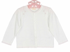 NEW Renzo White Cotton Knit Sweater with Delicate Pink Embroidered Flowers