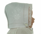 NEW Rosalina Elaborately Embroidered Hanky Bonnet with Lace Trim