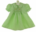 NEW Rosalina Green Smocked Dress with Embroidered Kites
