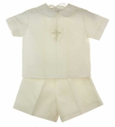 NEW Rosalina Ivory Linen Shorts Set with Embroidered Cross