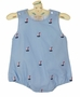 NEW Rosalina Light Blue Romper with Embroidered Sailboats
