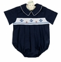 NEW Rosalina Navy Blue Smocked Romper with Embroidered Anchors