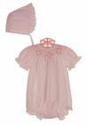 NEW Rosalina Pink Bishop Smocked Bubble with Pink Rosebuds and Matching Bonnet