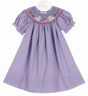 NEW Rosalina Purple Checked Bishop Smocked Dress with Embroidered Bunnies