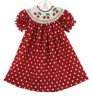 NEW Rosalina Red Polka Dot Bishop Smocked Dress with Embroidered Cherries