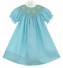 NEW Rosalina Robins Egg Blue Bishop Smocked Dress with Peeps Embroidery