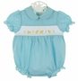 NEW Rosalina Robins Egg Blue Smocked Bubble with Peeps Embroidery
